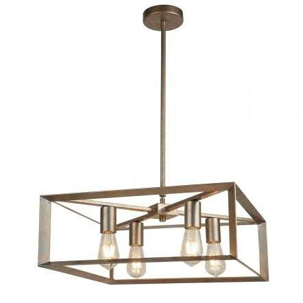 Heaton 4 Light Pendant Brushed Silver Gold Finish