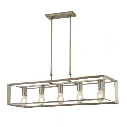 Heaton 5 Light Oblong Pendant Brushed Silver Gold Finish