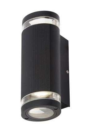 Helix Black Up & Down Wall Light IP44