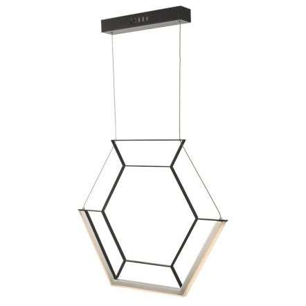 Hexagon 1 Light Pendant Black LED