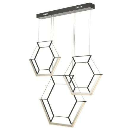 Hexagon 3 Light Pendant Black LED