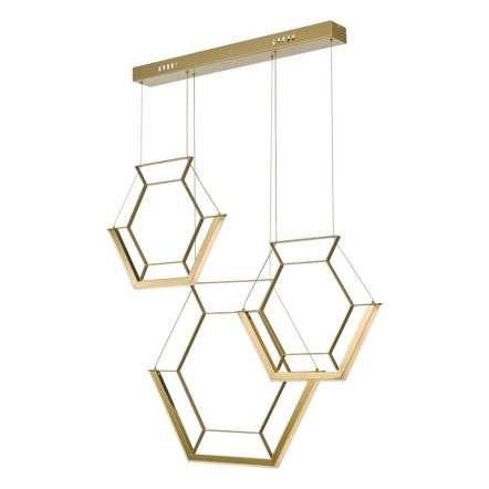 Hexagon 3 Light Pendant Gold LED