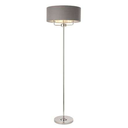 Highclere 3 Light Floor Lamp in Bright Nickel C/W Charcoal Shade