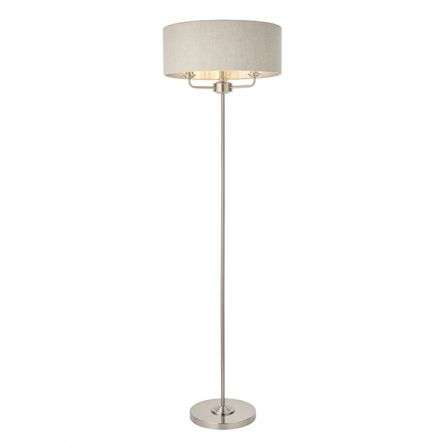 Highclere 3 Light Floor Lamp in Brushed Chrome C/W Natural Shade