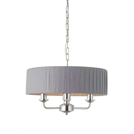 Highclere 3 Light in Bright Nickel C/W Wrapped Charcoal Silk Shade