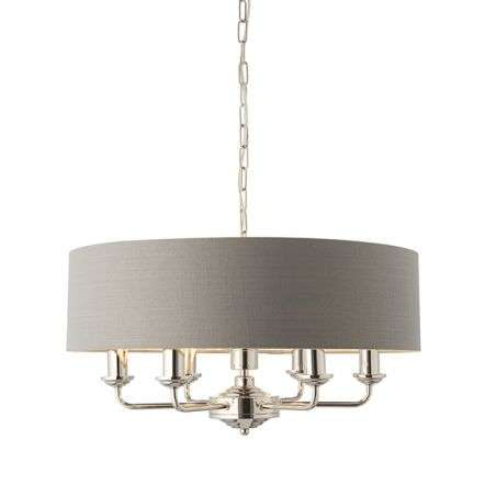 Highclere 6 Light Drum Pendant in Bright Nickel C/W Charcoal Shade