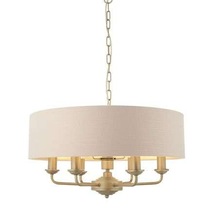 Highclere 6 Light Drum Pendant in Champagne Metalwork C/W Pink Shade
