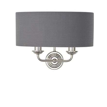 Highclere Double Wall Light in Bright Nickel C/W Charcoal Shade