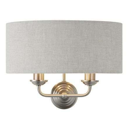 Highclere Double Wall Light in Brushed Chrome C/W Natural Shade