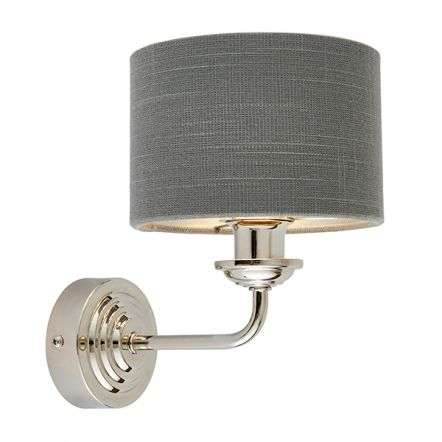 Highclere Single Wall Light in Bright Nickel C/W Charcoal Shade