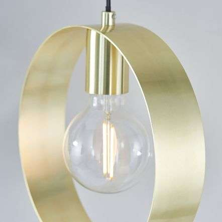 Hoop Single Pendant in Brushed Brass Finish
