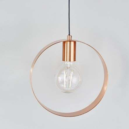 Hoop Single Pendant in Brushed Copper Finish