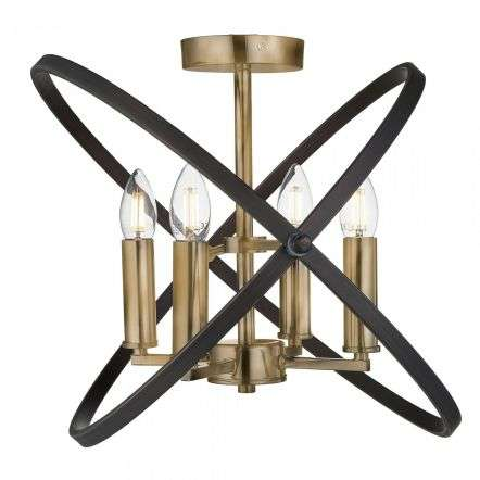 Hoopla 4 Light Semi Flush Bronze