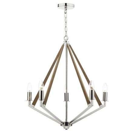 Hotel 5 Light Pendant Dual Mount Polished Nickel Wood | Online Lighting Shop