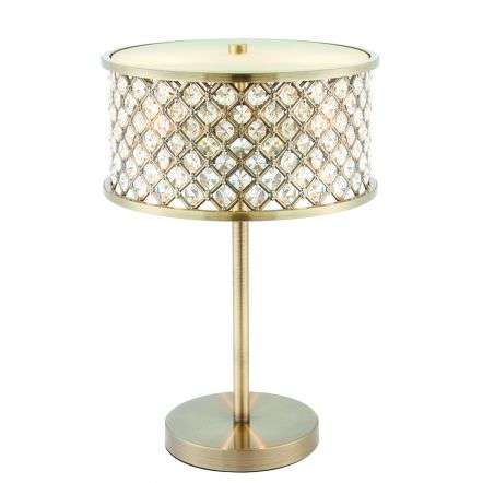 Hudson 2 Light Table Lamp Antique Brass 40W SW