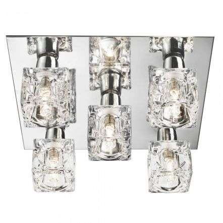 Ice Cube 5 Light Ceiling Flush Chrome Clear Glass