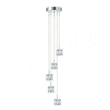 Ice Cube Dimmable LED 5 Light Multi-Drop Chrome
