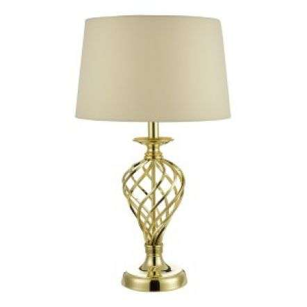 Iffley Touch Table Lamp Gold Cage Base C/W Ivory Shade