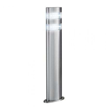 India LED Outdoor Oval Bollard 450mm Satin Silver