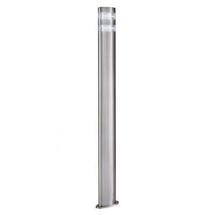 India LED Outdoor Oval Bollard 900mm Satin Silver