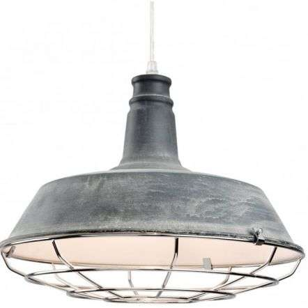 Industrial Quirky Grey Open Grill Ceiling Pendant