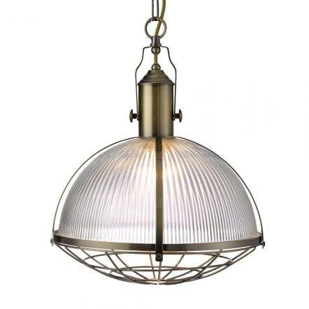 Industrial Single Pendant Antique Brass With Ribbed Glass
