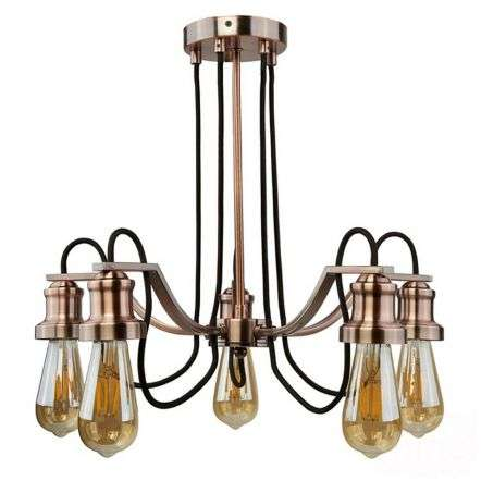 Industrial Style Ceiling 5 Light with Fabric Cable in Antique Copper