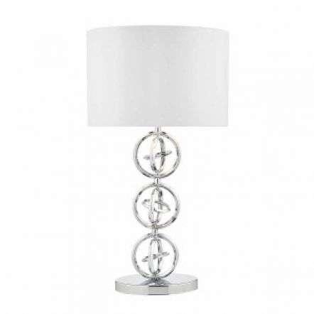 Innsbruck Table Lamp Polished Chrome C/W Ivory Shade