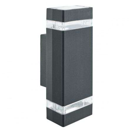 Ip44 Black 2 Light Outdoor Wall Light With Clear Diffuser