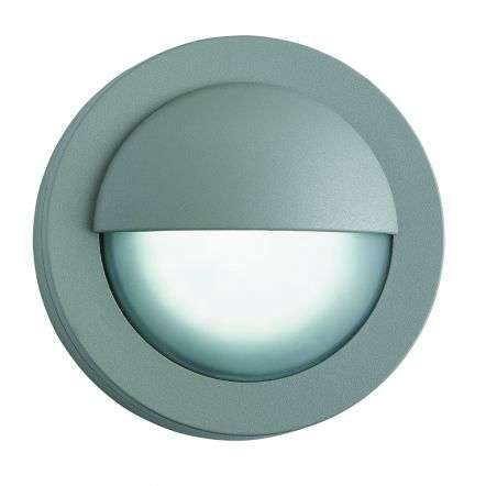 Ip44 Grey 18 Led Outdoor Wall Light With Acid Glass