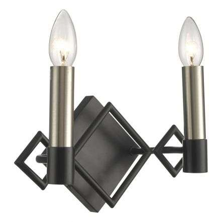 Isambard 2lt Wall Light Satin Nickel & Matt Black
