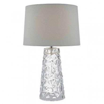 Jafar Glass Table Lamp C/W White Faux Silk Shade