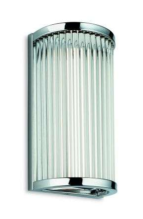 Jewel Small Bathroom Light in Chrome in Clear Glass Robs