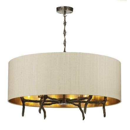 Joshua 6 Light Shaded Bronze Pendant Taupe Silk Shade Bronze Lining
