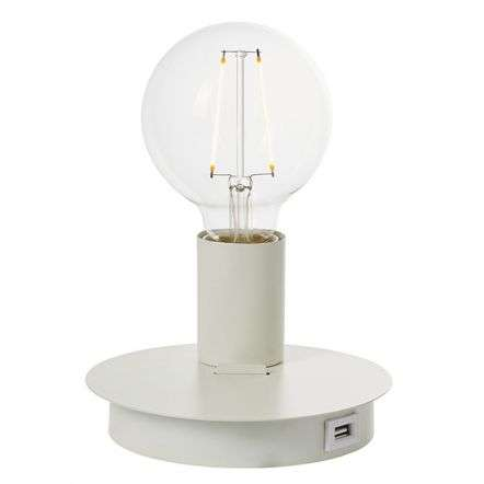 Joshua Table or Wall Light in Matt White with USB Port