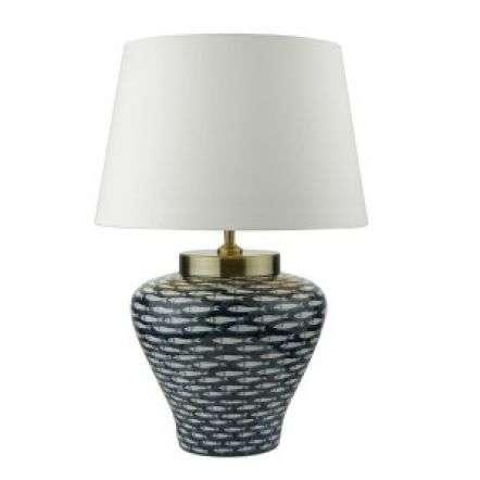 Joy Porcelain Table Lamp Base Blue White Fish Motif