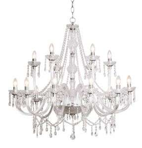 Katie 18-light polished chrome crystal chandelier
