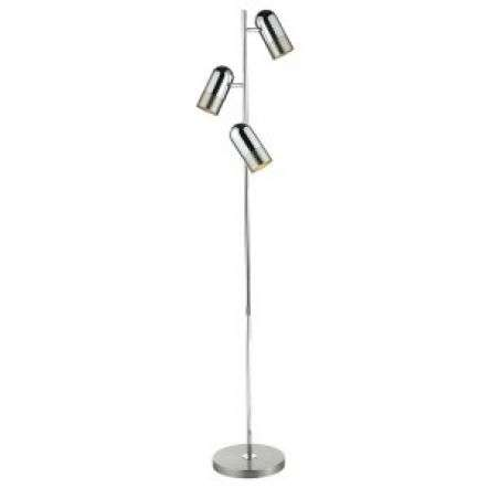 Kazan 3 Light Floor Lamp Satin Chrome & Polished Chrome