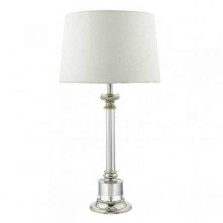 Krona Table Lamp Polished Nickel & Glass C/W Ivory Shade