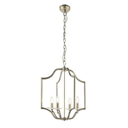 Lainey 4 Light Pendant in Antique Brass & Crystal