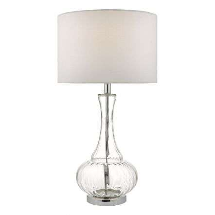 Lapsley Table Lamp Clear Glass & Polished Chrome With Shade