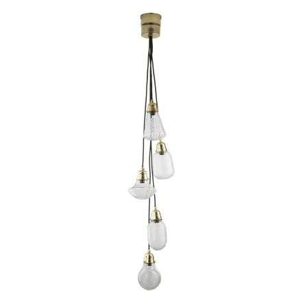 Lashira 5lt Cluster Pendant Polished Brass & Glass