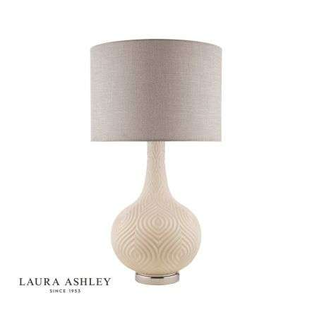 Laura Ashley Grace Painted Patterned Glass Table Lamp with Shade