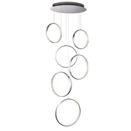 LED 6 Rings Multi-drop Chrome Crystal
