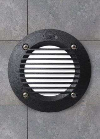 Leti100 3W Grill Round Black Recessed Wall Light