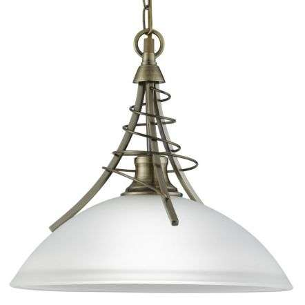 Linea Antique Brass Twist Pendant Complete With Acid Shade
