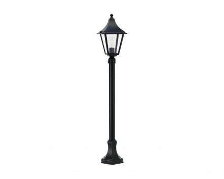 Linek Small 4-Sided Medium Height Post Lantern Black