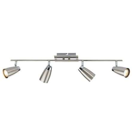 Loft 4 Light Low Energy Bar Satin Chrome/ Polished Chrome