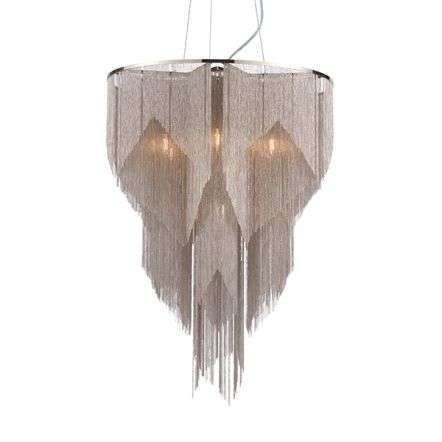 Loire 6 Light Pendant with Bright Nickel & Silver Chain