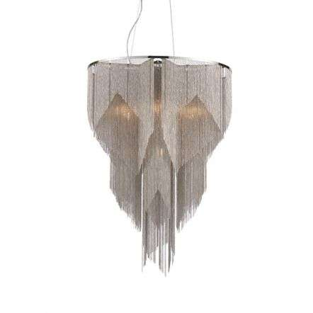 Loire 7 Light Pendant with Bright Nickel & Silver Chain